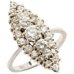Art Nouveau Marquise Shaped Diamond Gold Ring