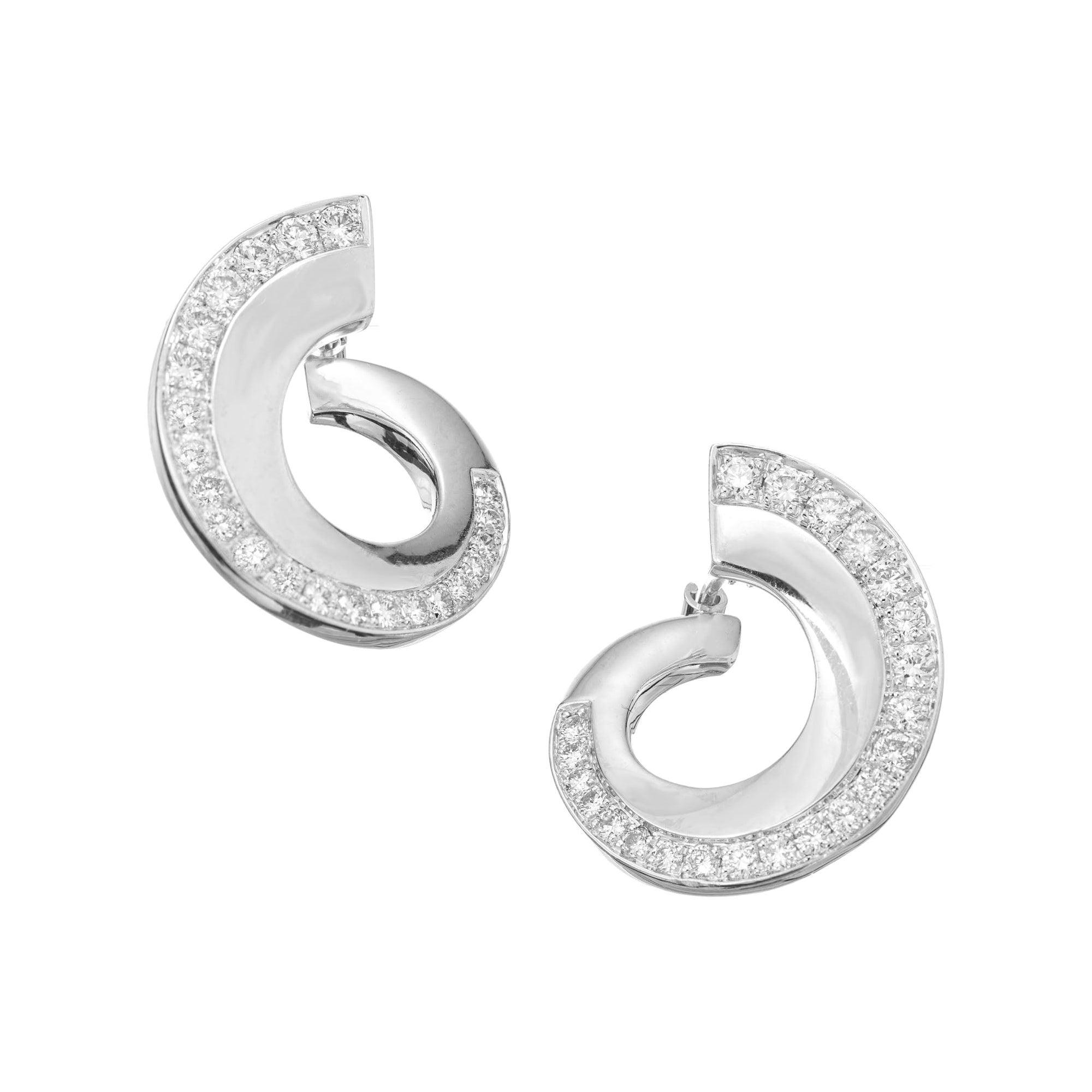 .75 Carat Diamond White Gold Swirl Earrings