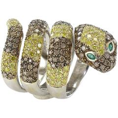 Yellow and Cognac Diamond Emerald Gold Snake Ring