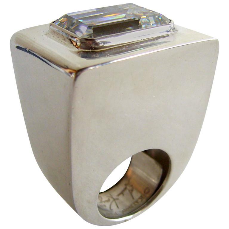 Kalibré Crystal Sterling Silver Cubed Ring