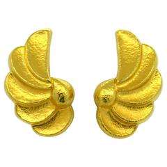 Whimsical Ilias Lalaounis Hammered Gold Wings Motif Earrings