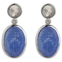 Colleen B. Rosenblat Tanzanite Brilliant Cut Diamond Gold Earrings