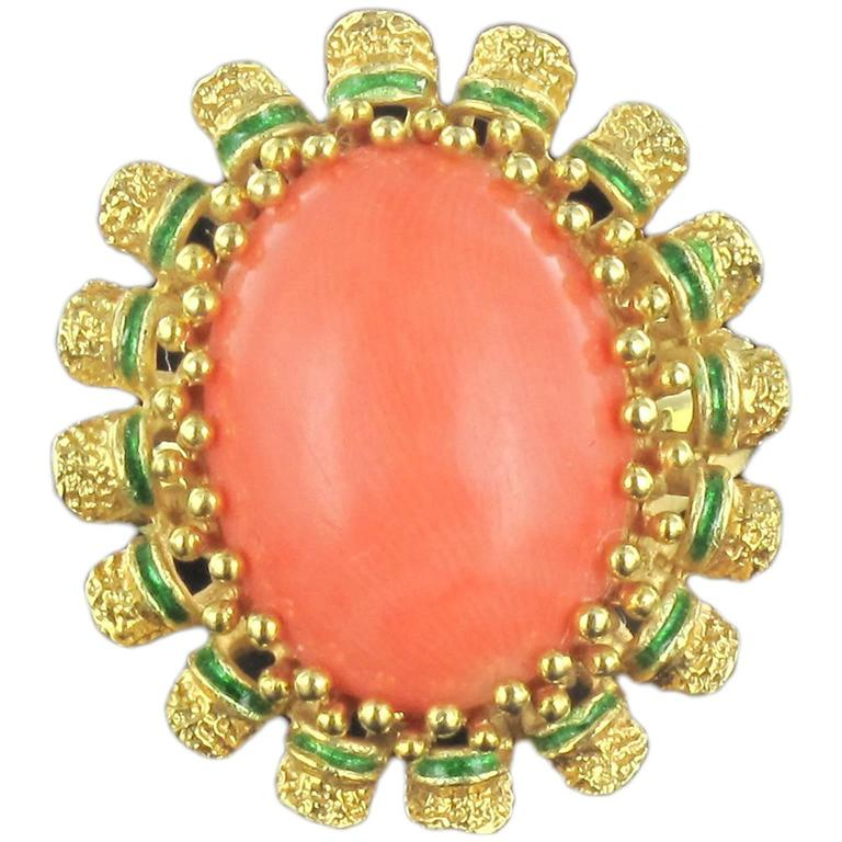 1960s French Coral Green Enamel Gold Ring