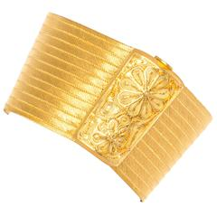 Wide Gold Band Bracelet