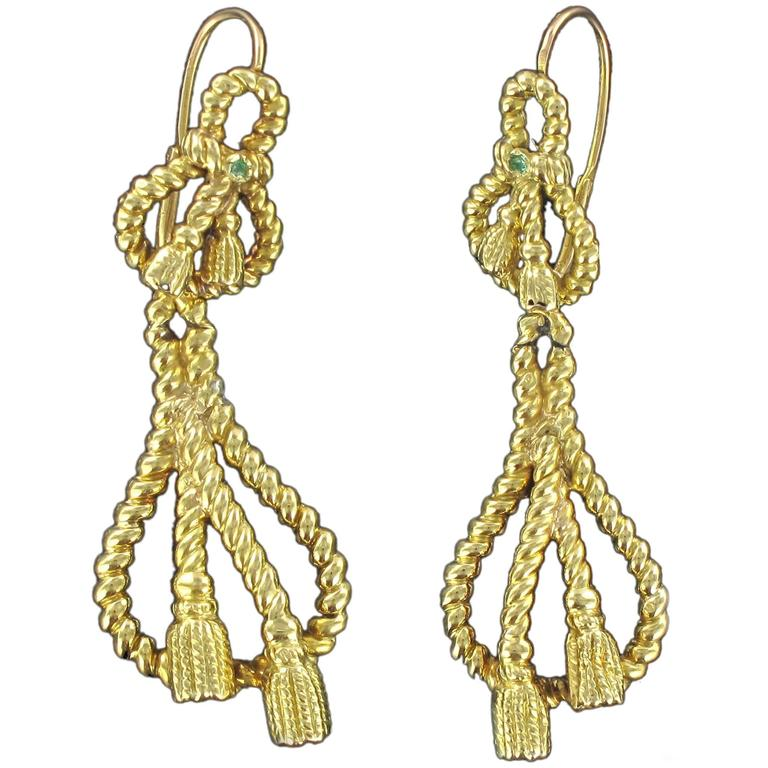French 19th Century Emerald 18 carats Yellow Gold Drop Dangle Earrings
