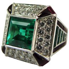 Stunning Colombian Emerald Ruby Diamond Onyx Platinum Ring