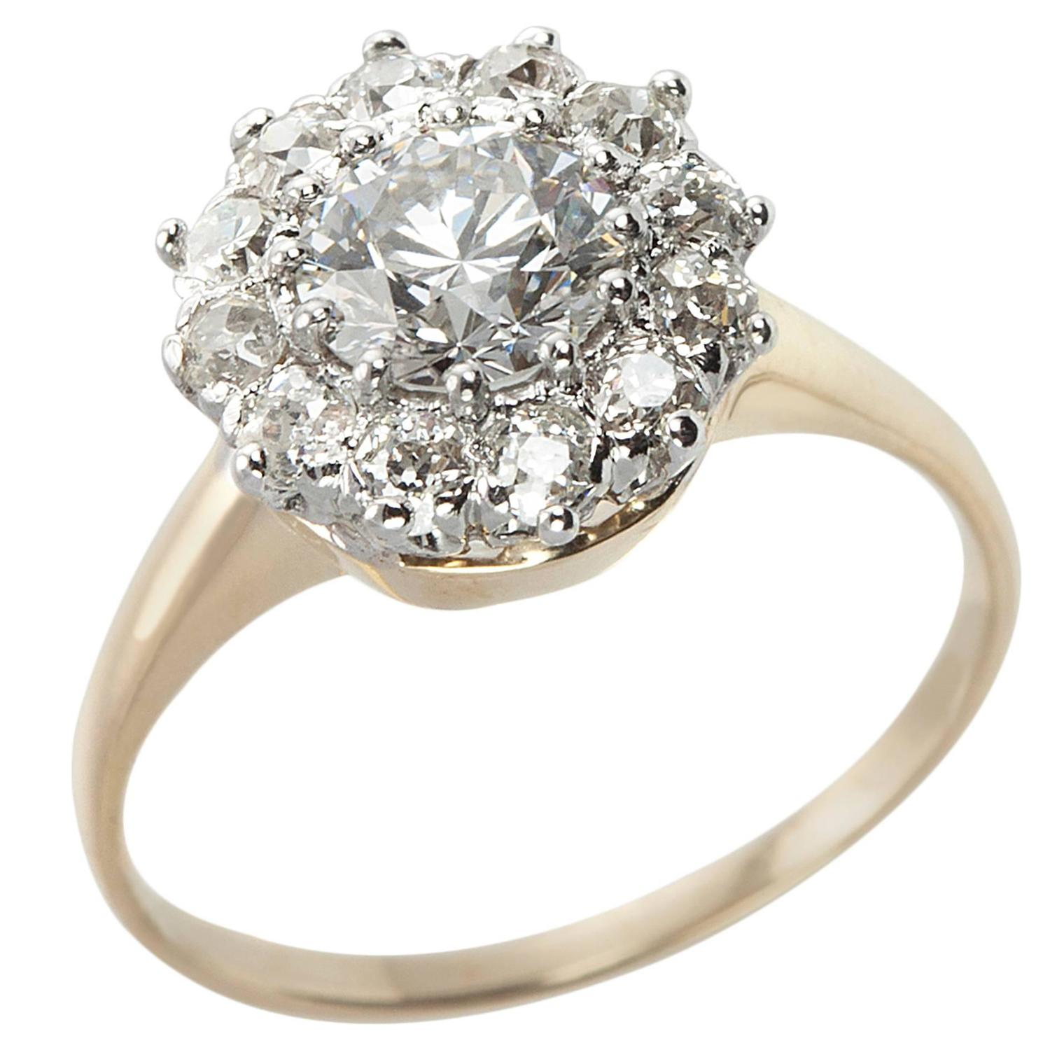 antique gold platinum cluster ring at 1stdibs