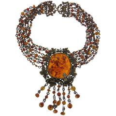 Stephen Dweck Bronze Amber Multi Strand Necklace