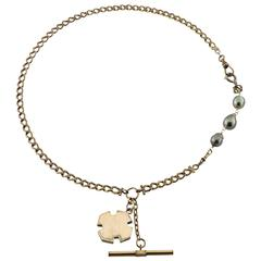 Black Pearl Gold-Filled Watch Fob Chain Pendant Necklace