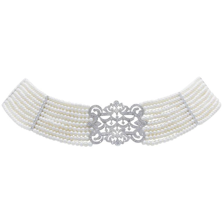 Pearl Diamond Gold Choker Necklace 1