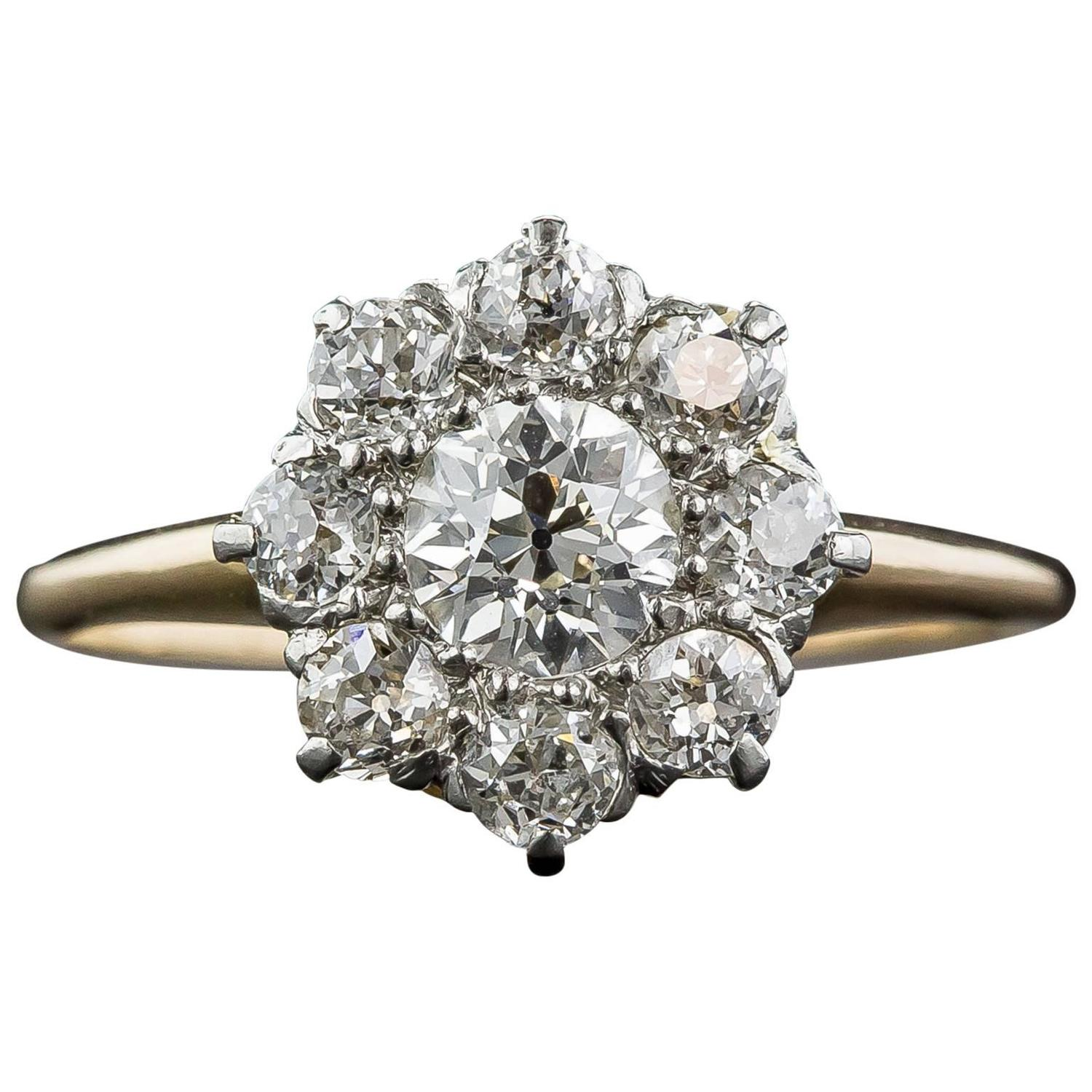 Victorian diamond cluster engagement ring at 1stdibs for Cluster wedding rings