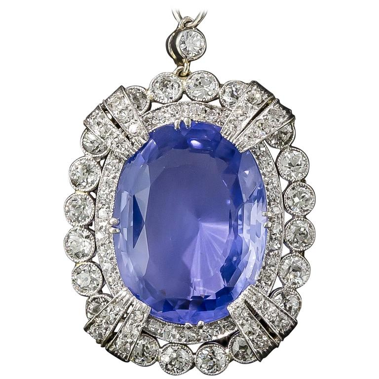15.65 Carat Unheated Ceylon Sapphire Art Deco Diamond Platinum Necklace