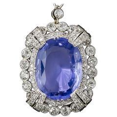 15.65 Carat Unheated Ceylon Sapphire Art Deco Diamond Platinum Necklace