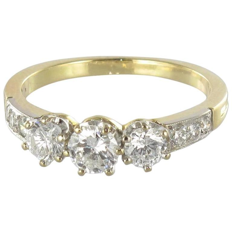 Diamond Gold Trinity Engagement Ring