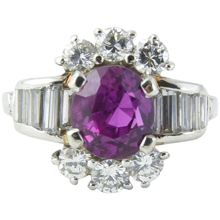 Intense Unheated Pink Sapphire Diamond Platinum Ring