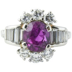 Intense Unheated Pink Sapphire Diamond Platinum Ring