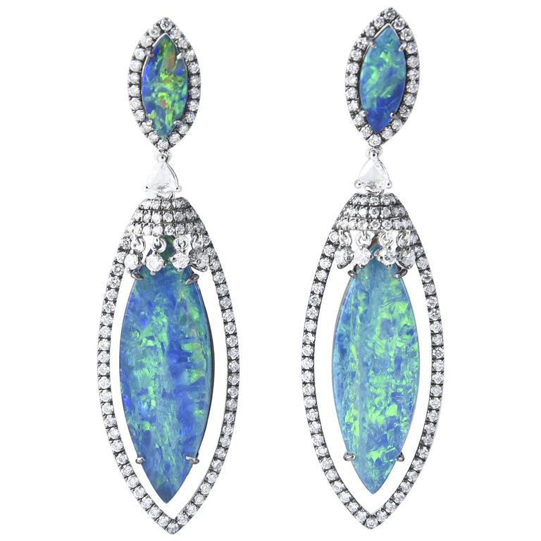 Opal Diamond Gold Drop Dangling Earrings