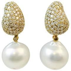 Stunning South Sea Pearl Diamond Gold Drop Earrings