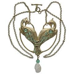 Charles Boutet de Monvel Art Nouveau Peacock Pendant