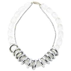 1970s Lucite and Chrome Statement Necklace