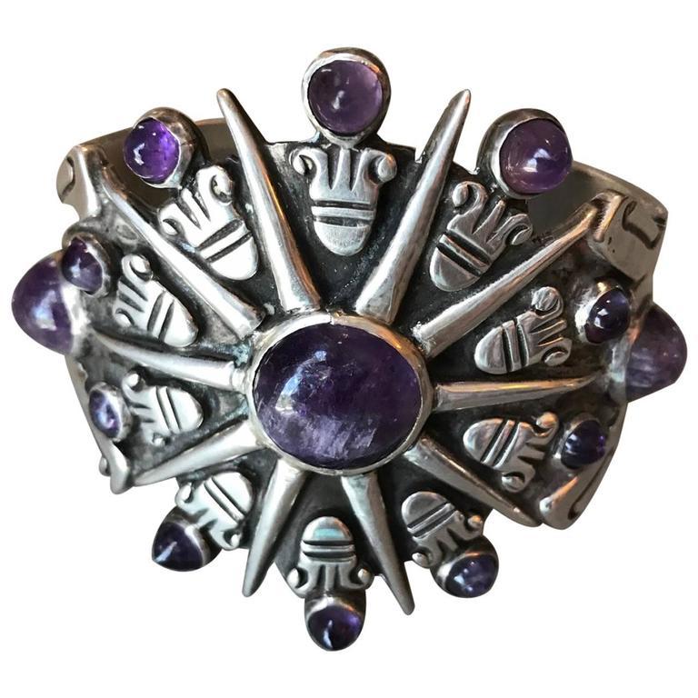 William Spratling Amethyst Sterling Silver Aztec Sun Cuff Bracelet For Sale