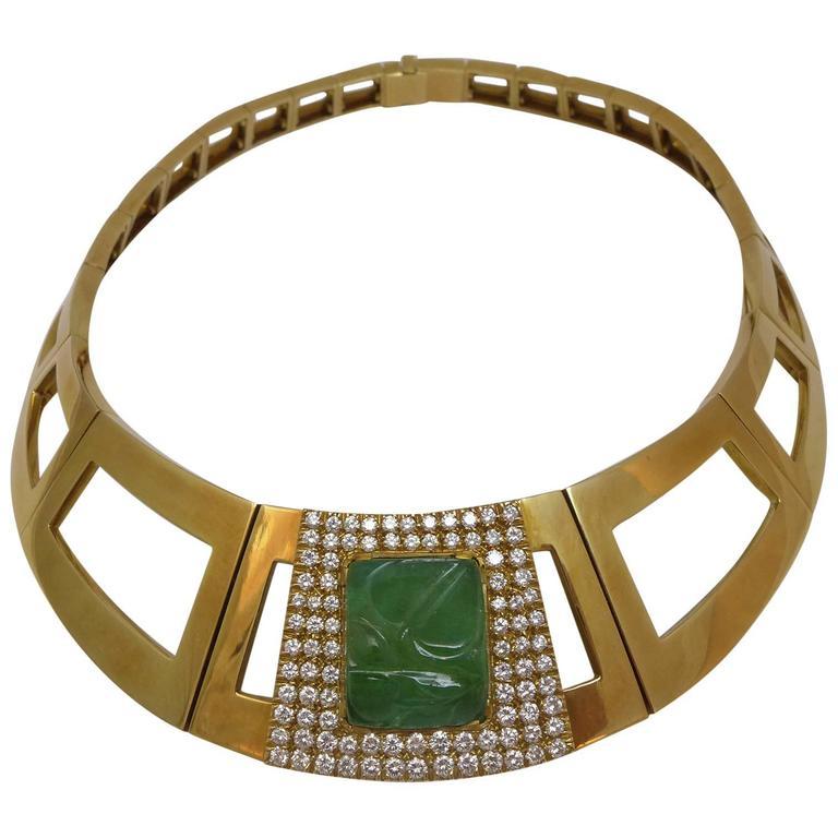 1970s Emerald Diamond Gold Repossi Necklace