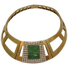 1970s Emerald Diamond Gold Repossi Necklace