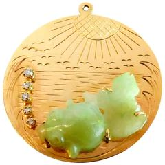 Large Jade Koi with Diamond Bubbles Water Waves and Sunshine Gold Charm Pendant