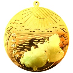 Large Jade Koi Fish Diamond Bubbles Waves and Sunshine Gold Charm Pendant