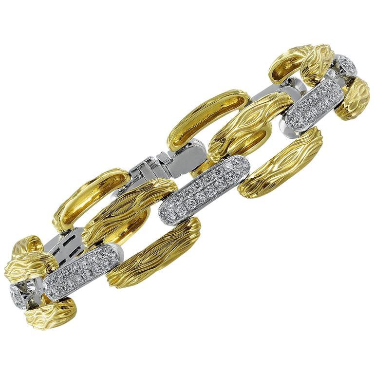 Open Link Diamond Gold Bracelet