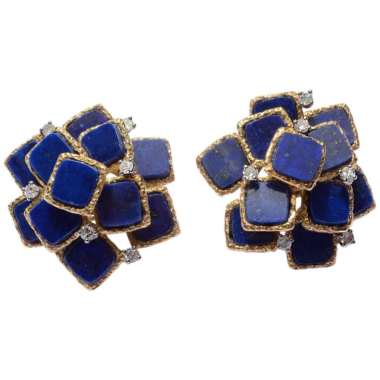 Lapis Lazuli Gold Earrings with Diamonds 1