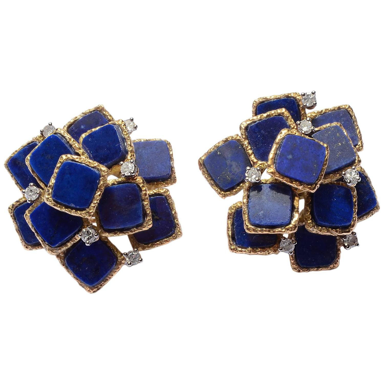 lapis lazuli gold earrings with diamonds at 1stdibs