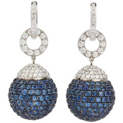 Diamond and Sapphire Orb Earrings