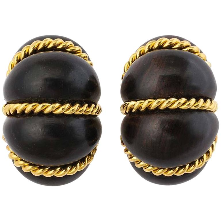 gold ebony shrimp earrings