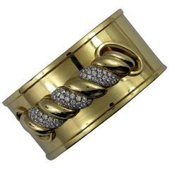 Braid Motif Diamond Gold Cuff Bracelet