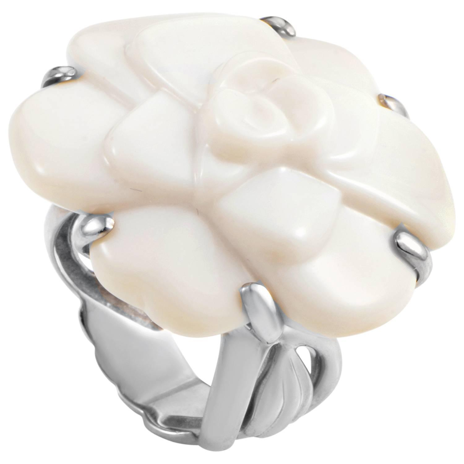 chanel camellia white agate gold ring at 1stdibs