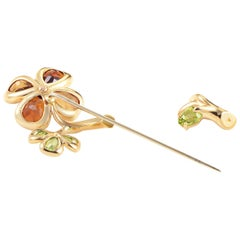 Chanel Yellow Gold Floral Gemstone Pin