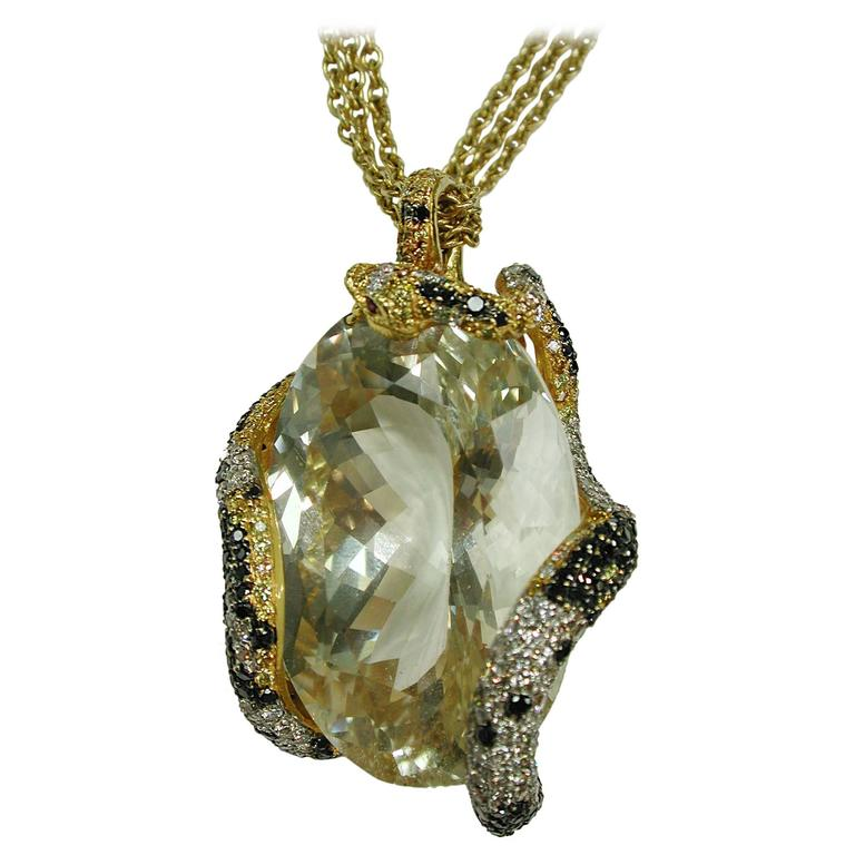 GIA Certified 210.78 Carat Spodumene Stone Gold Pendant For Sale