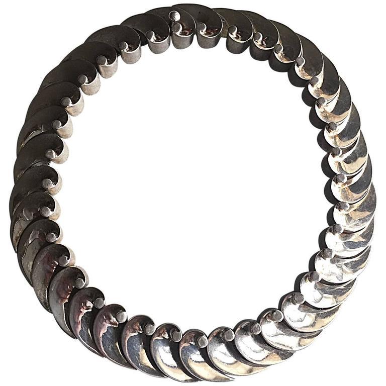 """Antonio Pineda 970 Silver """"Wave"""" Necklace"""