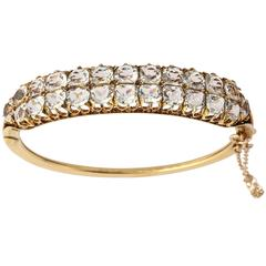 White Sapphire Gold Double Bangle Bracelet