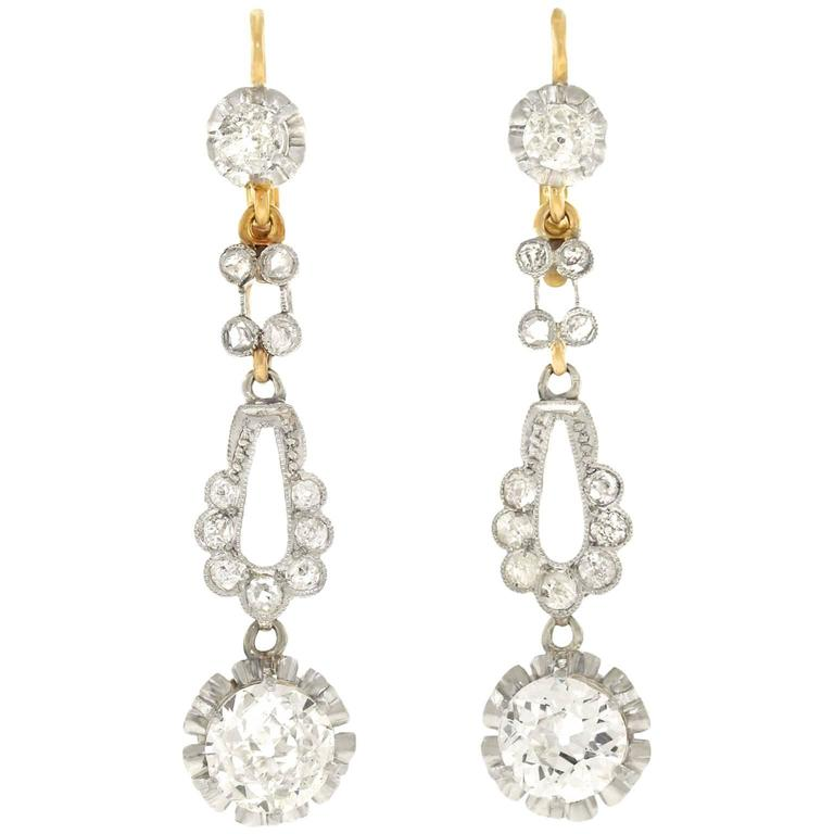 Art Deco Platinum over Gold Diamond Chandelier Earrings