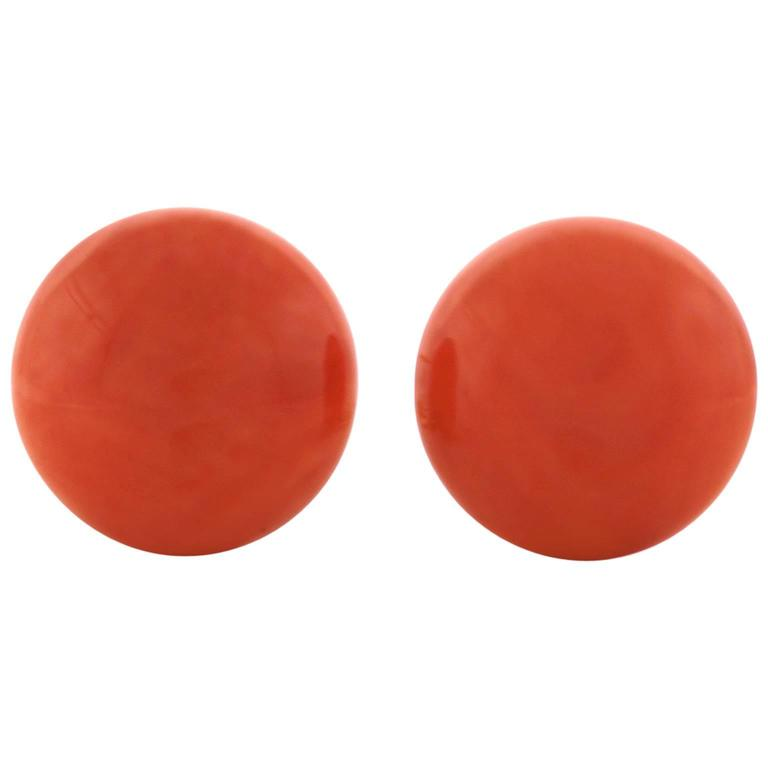 Tiffany & Co. Natural Coral Earrings in Gold GIA Report 1