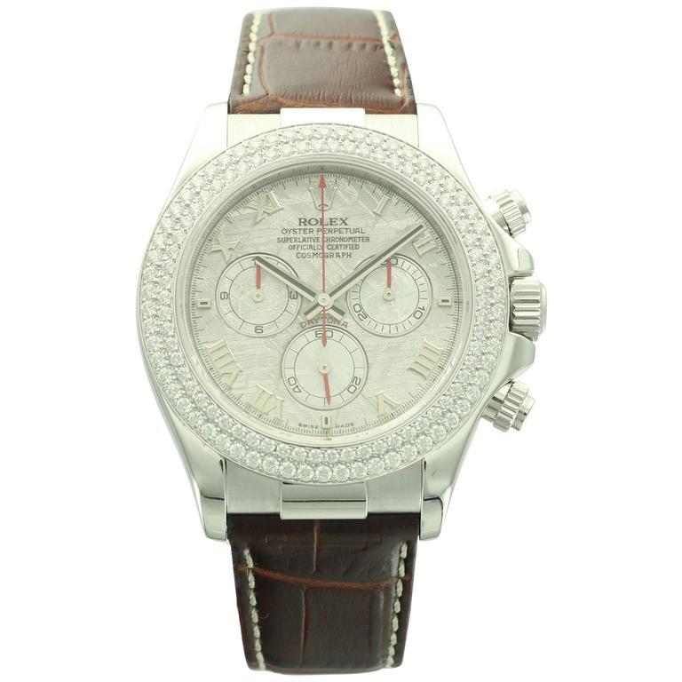 Rolex White Gold Diamond Daytona Meteorite Dial Wristwatch Ref 116589RBR with
