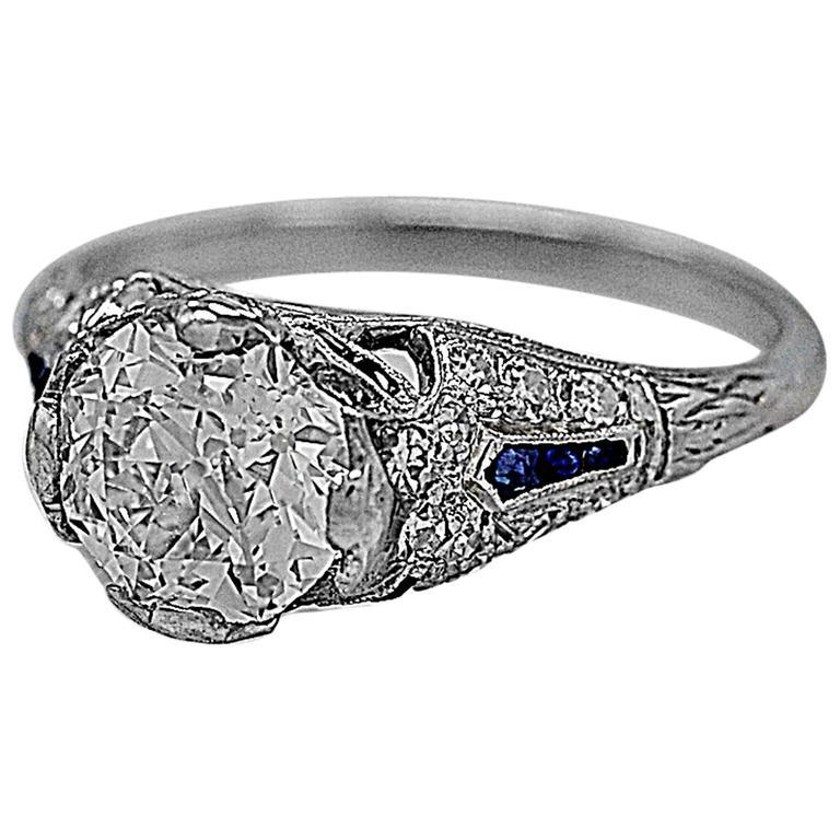 Sapphire 1.54 Carat Diamond Platinum Engagement Ring 1