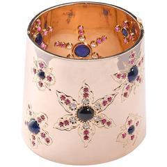 Cabochon Blue Garnet Diamond Rose Gold Cuff Bracelet