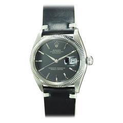 Rolex White Gold Fluted Bezel Gilt Dial Datejust Wristwatch Ref 1601