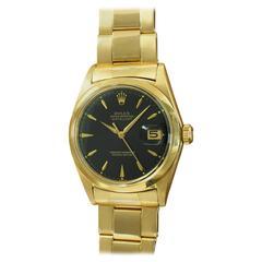 Rolex Yellow Gold Black Dial Datejust Wristwatch Ref 1600