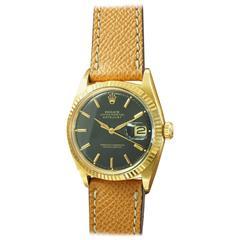 Rolex Yellow Gold Black Dial Datejust Wristwatch Ref 1601