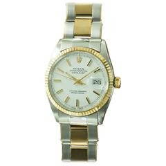 Rolex Yellow Gold Stainless Steel White Dial Datejust Wristwatch Ref 1601
