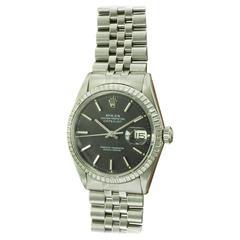 Rolex Stainless Steel Black Dial Datejust Wristwatch Ref 1603